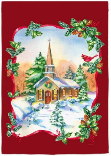 Joyful Winter Church House Flag