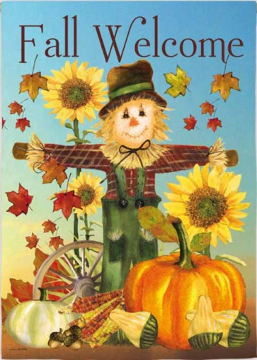 Fall Scarecrow Welcome House Flag