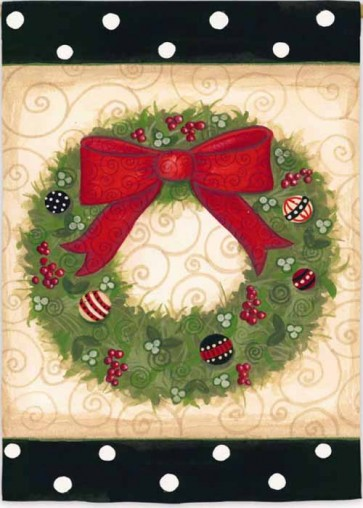 Wreath with Polka Dots House Flag