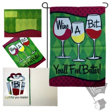 Wine a Bit Garden Flag (EverGreetings Set)