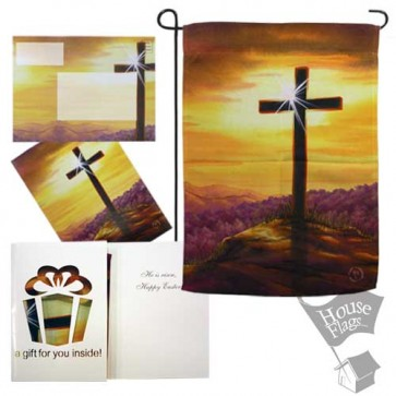 Cross Sunset Garden Flag (EverGreetings Set)