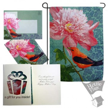 Tanager Peony Garden Flag  (Mothers' Day)