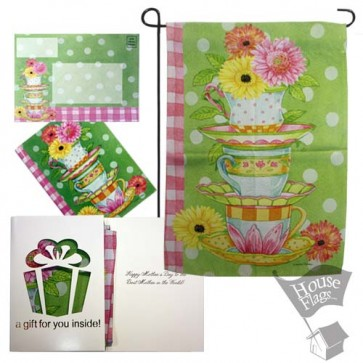 Flower tea Cups Garden Flag (MOTHERS'DAY)