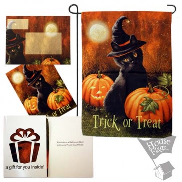 Trick or Treat cat garden Flag (EverGreetings Set)