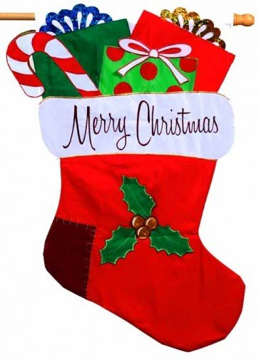 Merry Christmas Stocking  House Flag