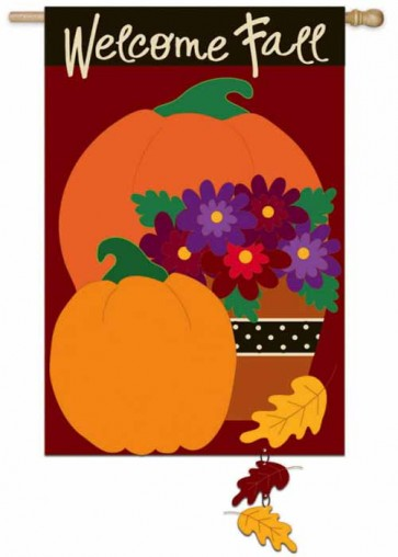 Pumpkin Harvest House Flag
