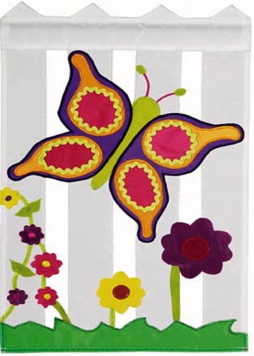 Floral Picket Fence Garden Flag