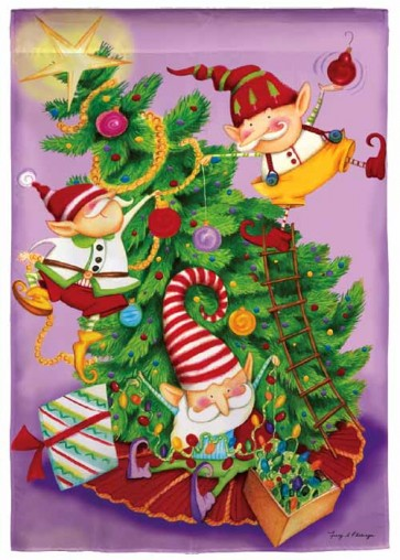 Elf Tree Trimmers Garden Flag