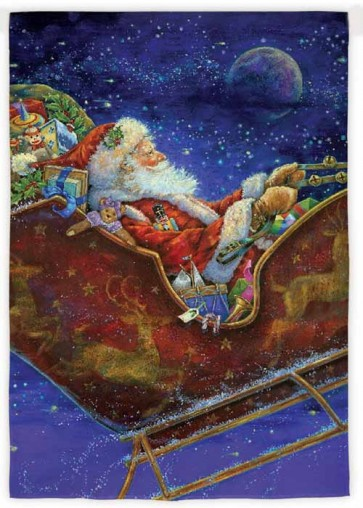 Santa in Sleigh Garden Flag