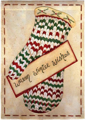 Warm Winter Wishes Mitten Garden Flag
