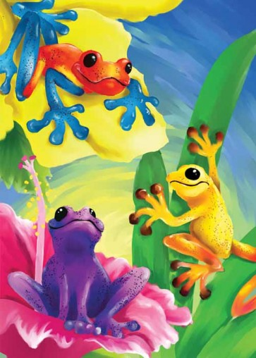 Colorful Frogs Garden Flag