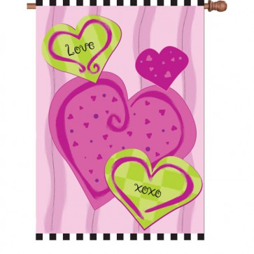 Hugs and Kisses Valentines Day House Flag