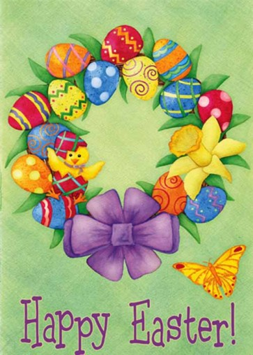 Happy Easter Wreath House Flag