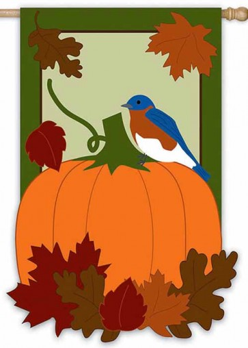 Autumn Bluebird  House Flag