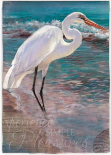 Egret by the Sea Garden Flag