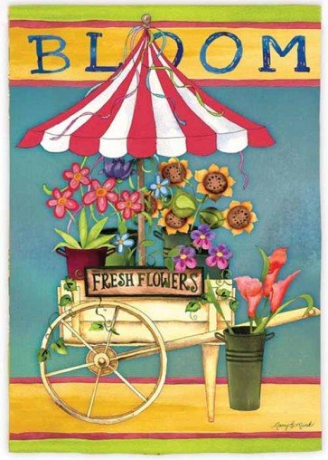 Bloom Flower Cart House Flag
