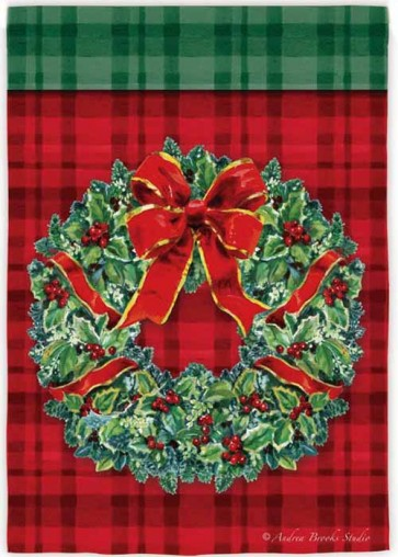 Plaid Wreath House Flag