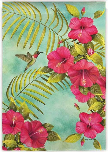 Hibiscus and Hummingbird House Flag