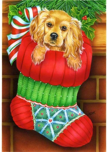 Puppy in Stocking   Garden Flag