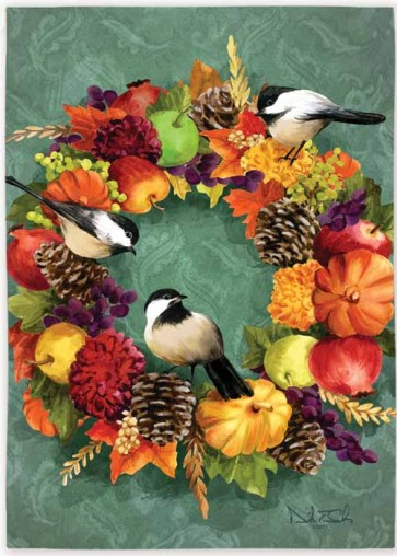 Fall Floral Wreath   House Flag