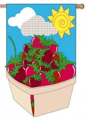 I Love Strawberries Garden Flag