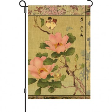 Peony and Bird Garden flag