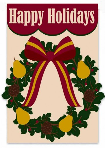 Happy Holidays Wreath    Garden Flag