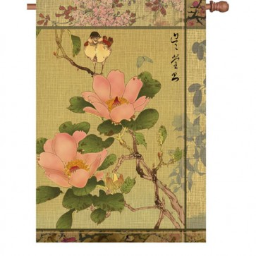 Peony and Bird House flag