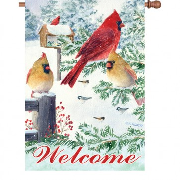 Snow Flurry Cardinals House Flag