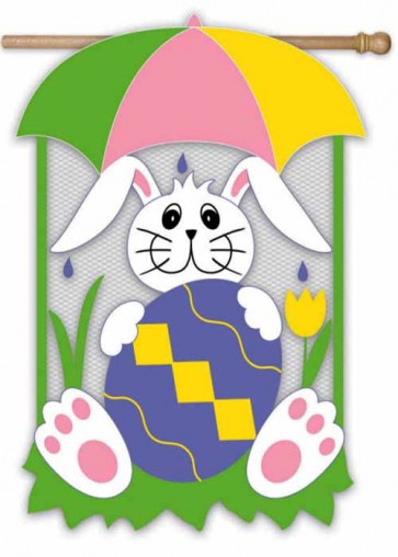 Easter Bunny in the Rain House Flag