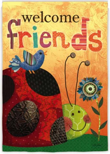 Welcome Friends Lady Bug   House Flag