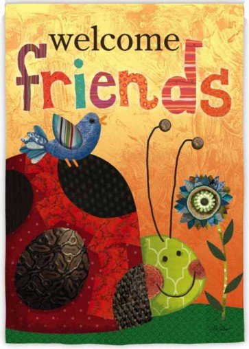 Welcome Friends Lady Bug  Garden Flag