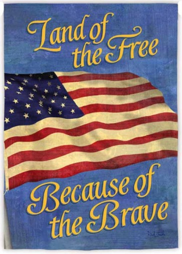 Free Because of the Brave House Flag