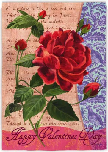 Valentines day Rose Garden Flag