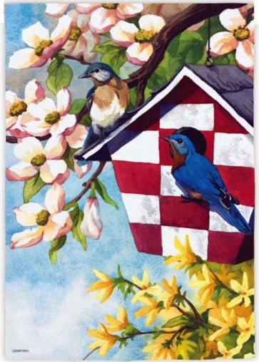 Blossoms and Birdhouse  Garden Flag