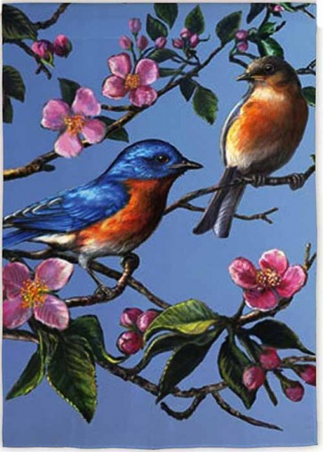 Bluebird Dogwood  House Flag
