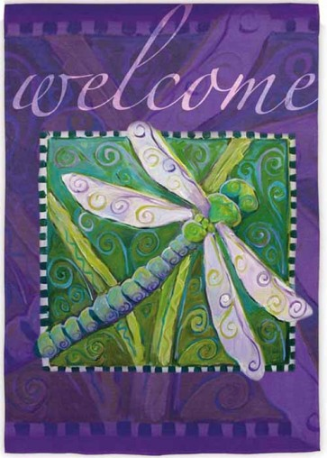 Lavender Dragonfly   House Flag