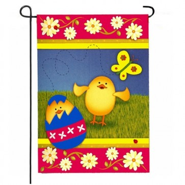 A Chick is Born Easter Garden Flag