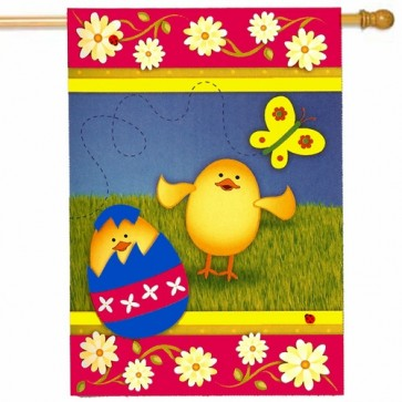 A Chick is Born   Easter House Flag