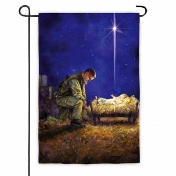 A Soldiers Christmas Garden Flag