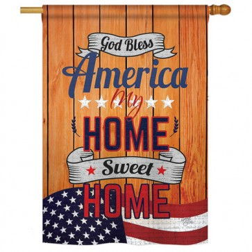 America My Home Patriotic House Flag