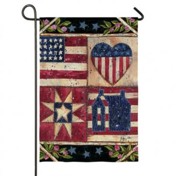 American Folk Quilt Garden Flag Two Flags in One!