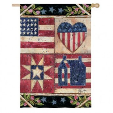 American Folk Quilt House Flag ( Two Flags in one)