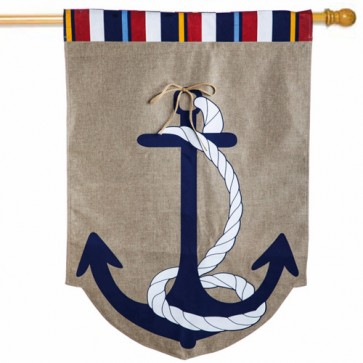 Anchor Burlap House Flag