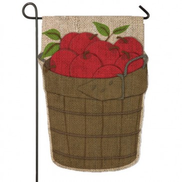 Apple Basket Burlap Garden Flag