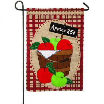 Apple Basket Burlap Fall Garden Flag
