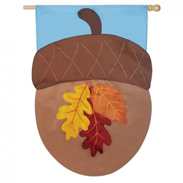 Autumn Acorn House Flag