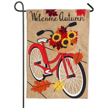 Autumn Bicycle  Fall Burlap Garden Flag