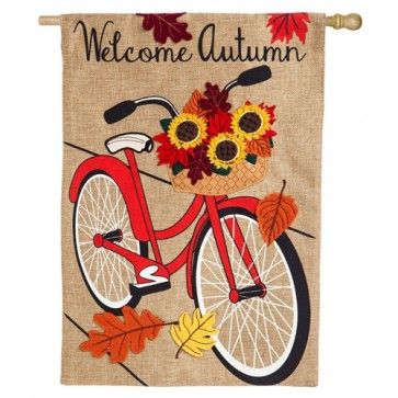 Autumn Bicycle  Burlap House Flag