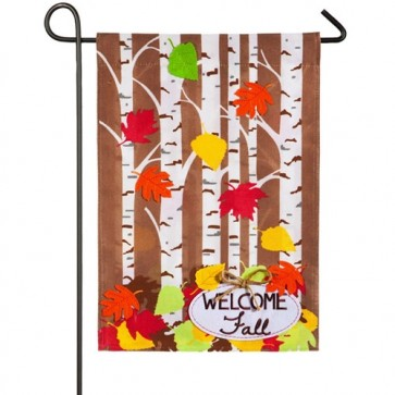 Autumn Birch Burlap Fall Garden Flag